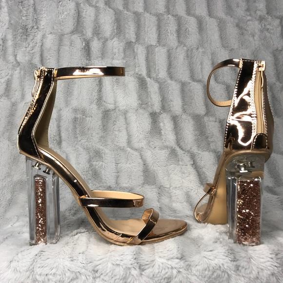 7f160066dae Diji Girls Shoes - DiJi Girls Glitter Clear Rose Gold Strappy Heels
